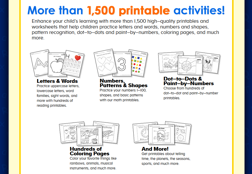 more tha 1,500 educational printables activities for learning preschool, pre-k Free worksheets