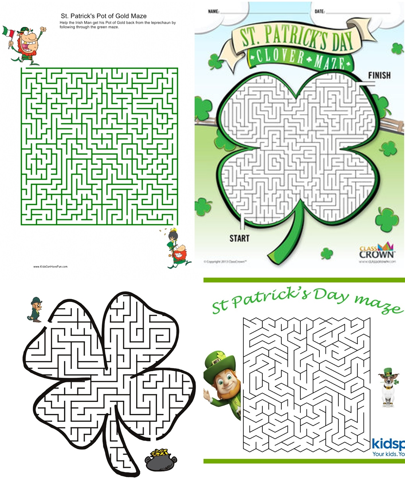 St. Patrick's Day Game Printable Maze Activity Worksheets for Kids