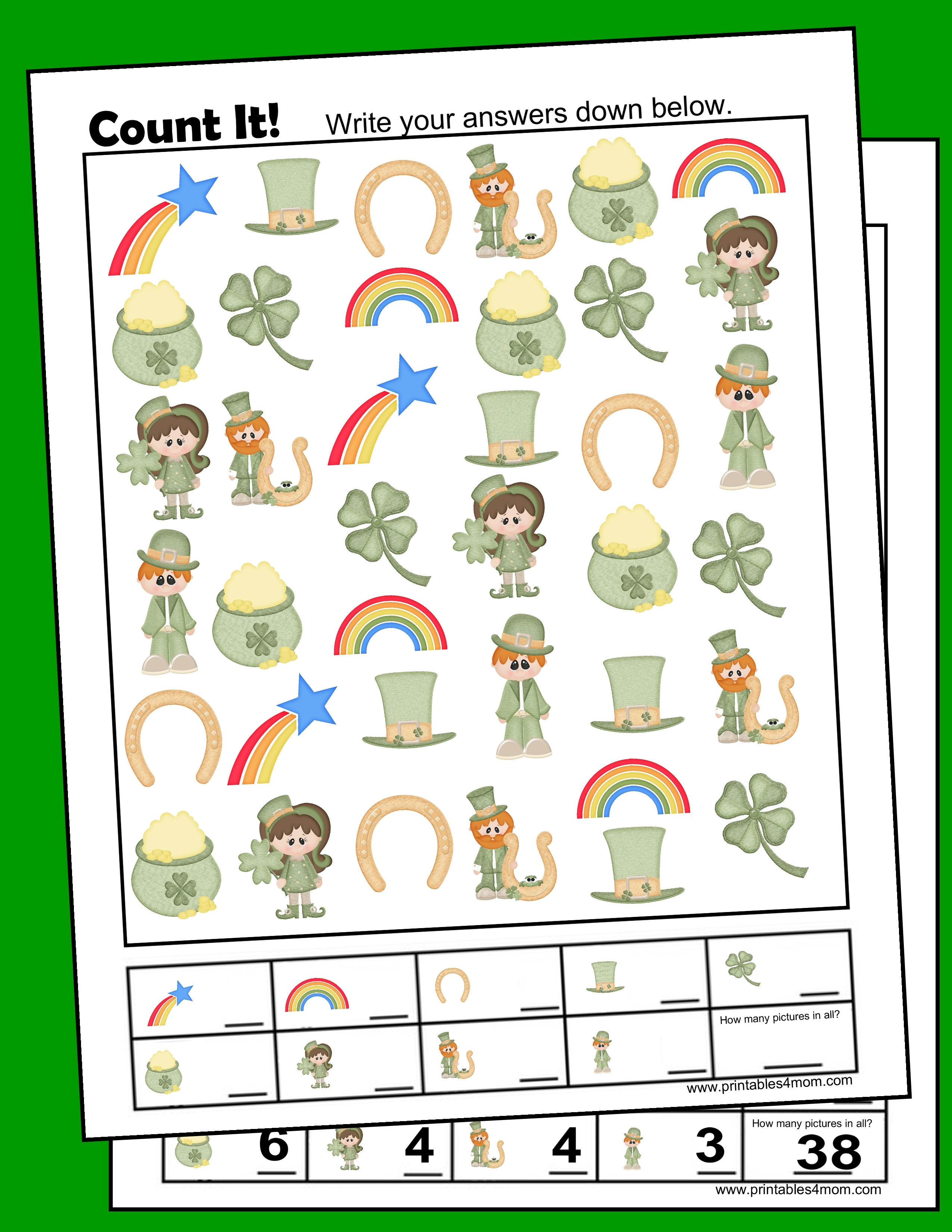 I Spy St. Patrick's Day Free Printable Counting Worksheet