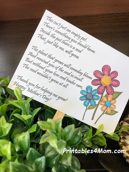 Mother S Day Empty Pot Gift Idea With Free Printable Printables 4 Mom
