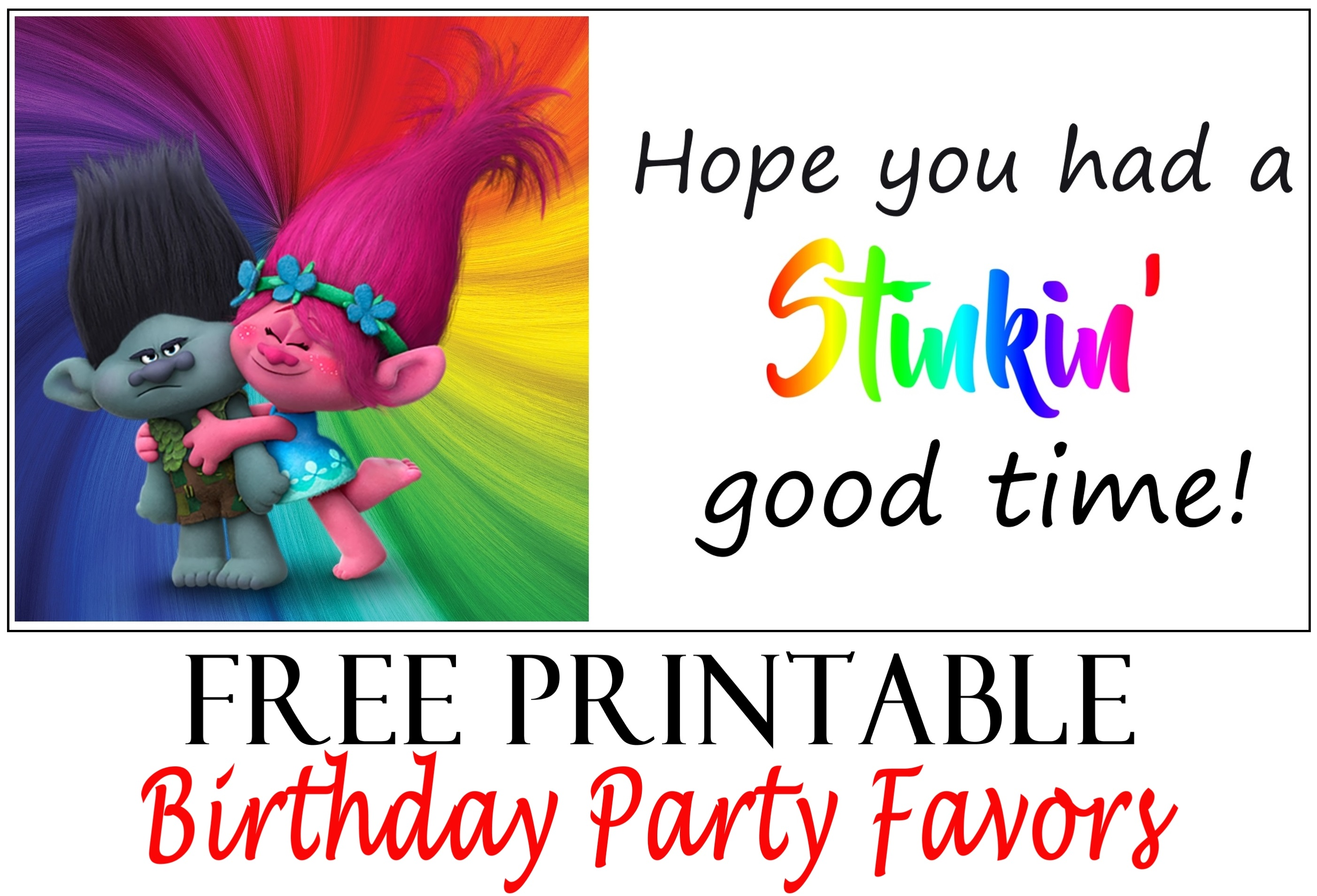 image about Printable Trolls Birthday Invitations identified as Trolls Birthday Celebration Printable Tags - Printables 4 Mother