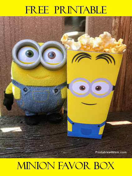 image regarding Minion Printable named No cost Minion Printable Popcorn or Like Box - Printables 4 Mother