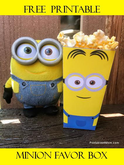Free Minion Printable Popcorn or Favor Box