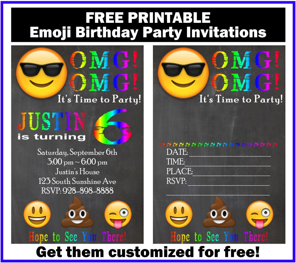 Free Customized Emoji Invitations And Birthday Printables