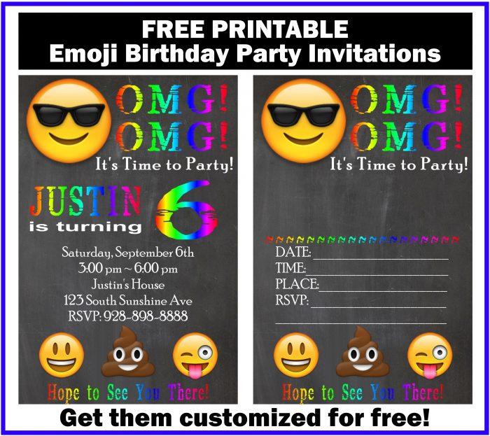 Free Customized Emoji Invitations And Birthday Printables