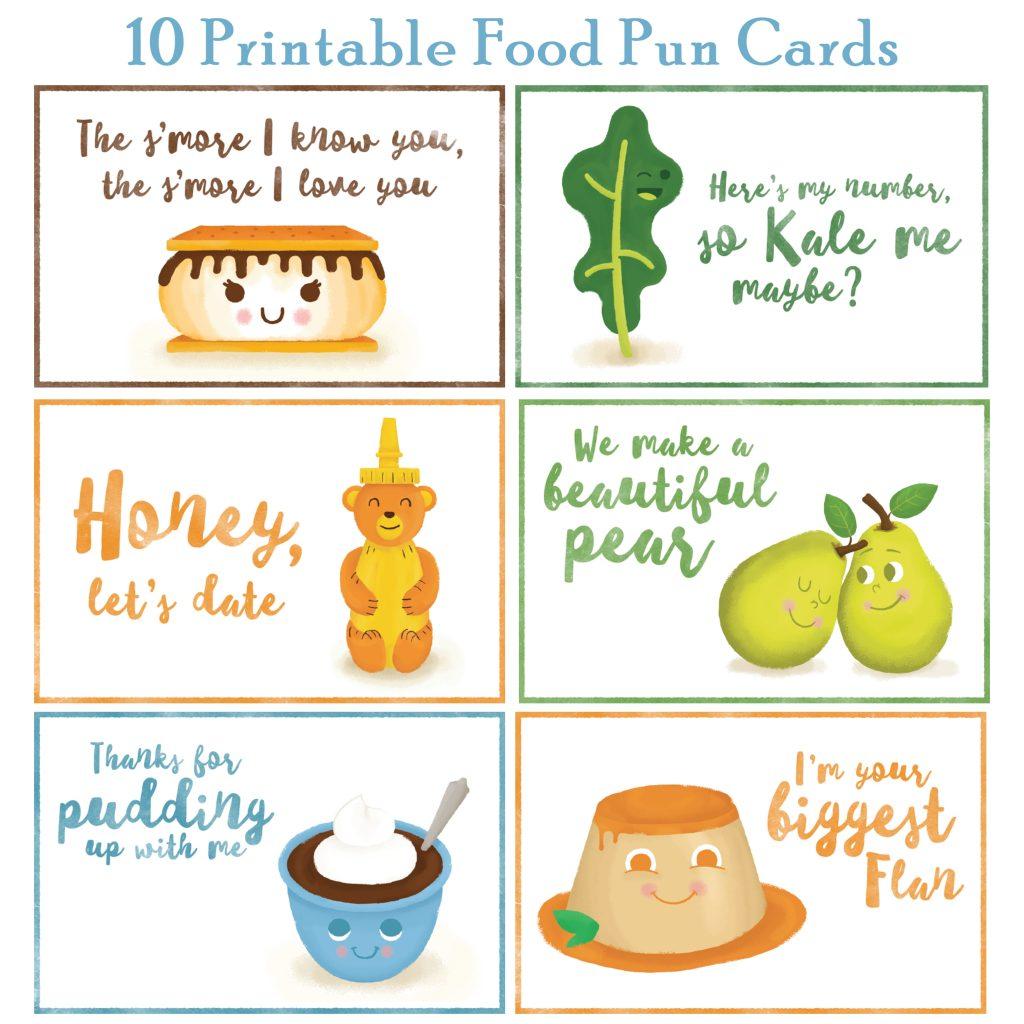 10 Printable Food Pun Cards free