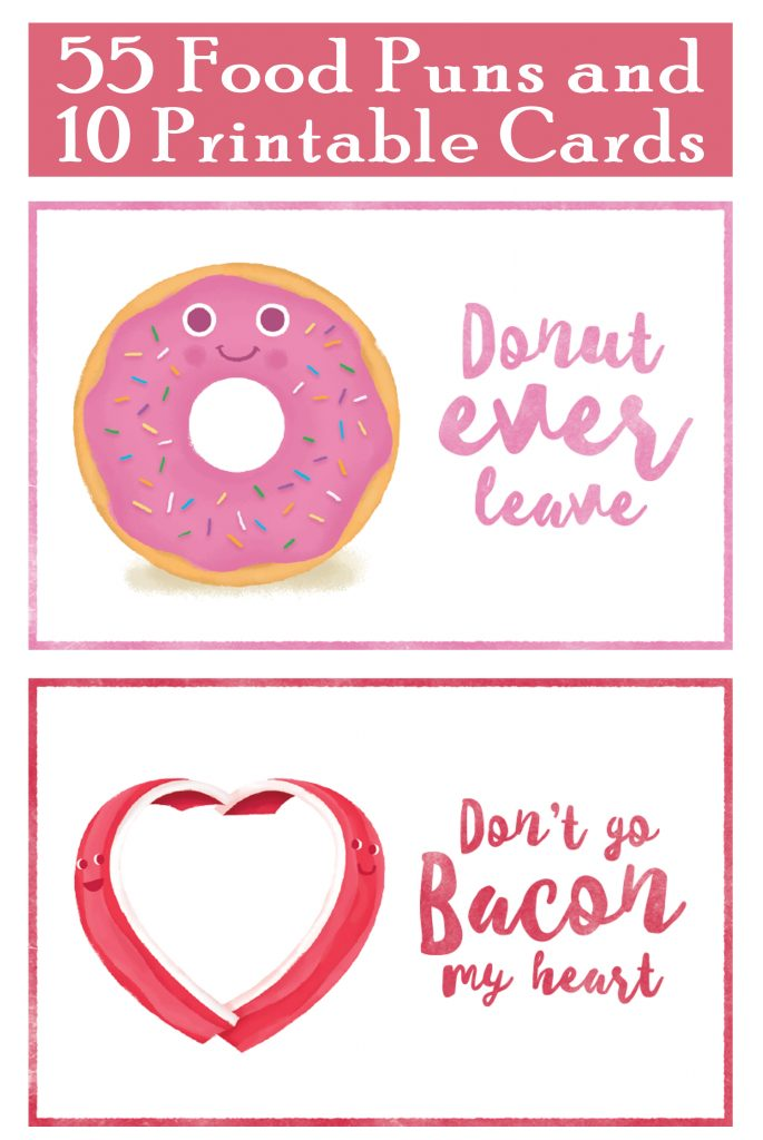 10 Printable Food Pun Cards free
