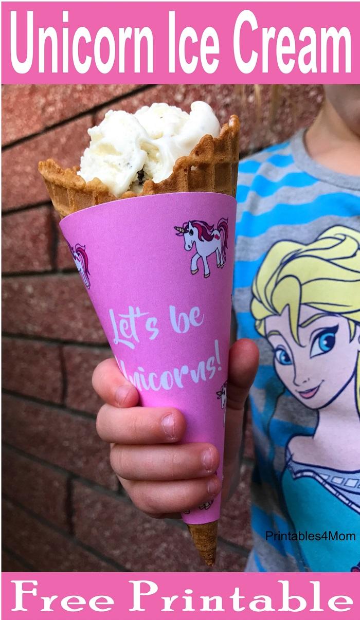 Unicorn Ice Cream Cone Printable free wrapper