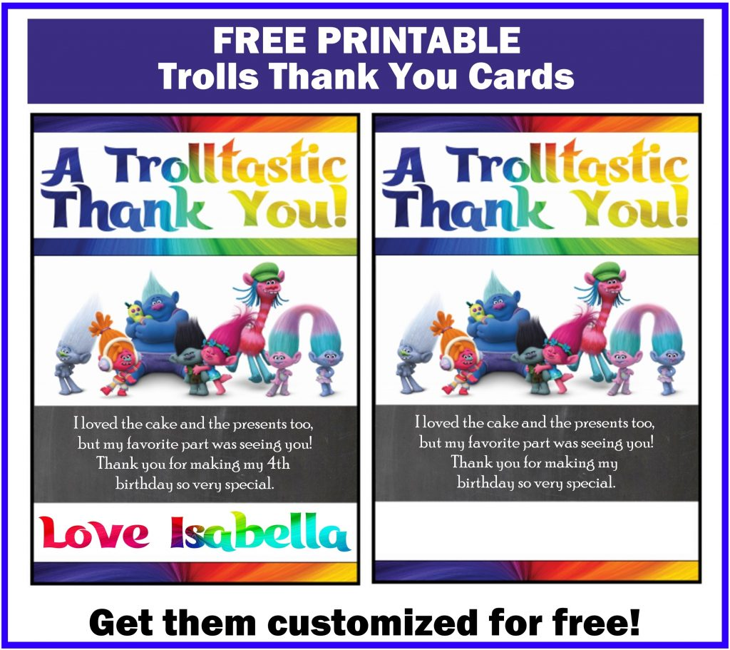Trolls Thank You Cards free printable customized