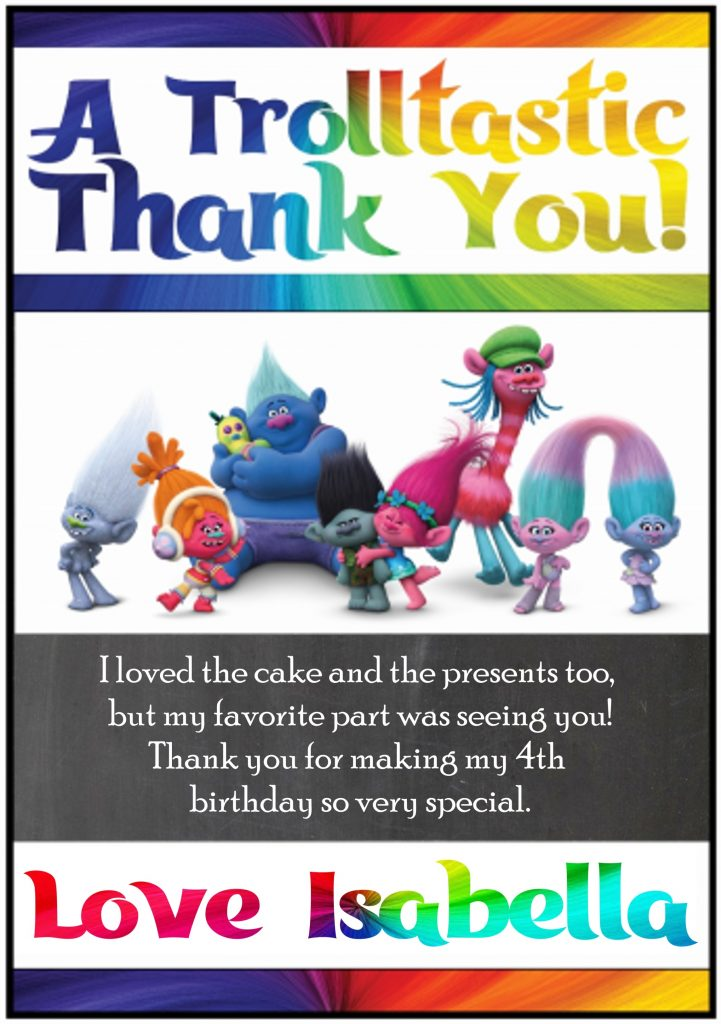 picture regarding Free Printable Trolls Invitations referred to as Printable Trolls Thank Yourself Playing cards - Printables 4 Mother