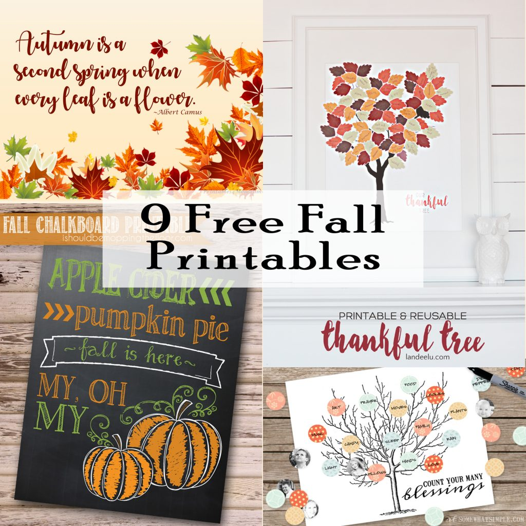 9 Free Fall Art Printables DIY Fall decor or gifts