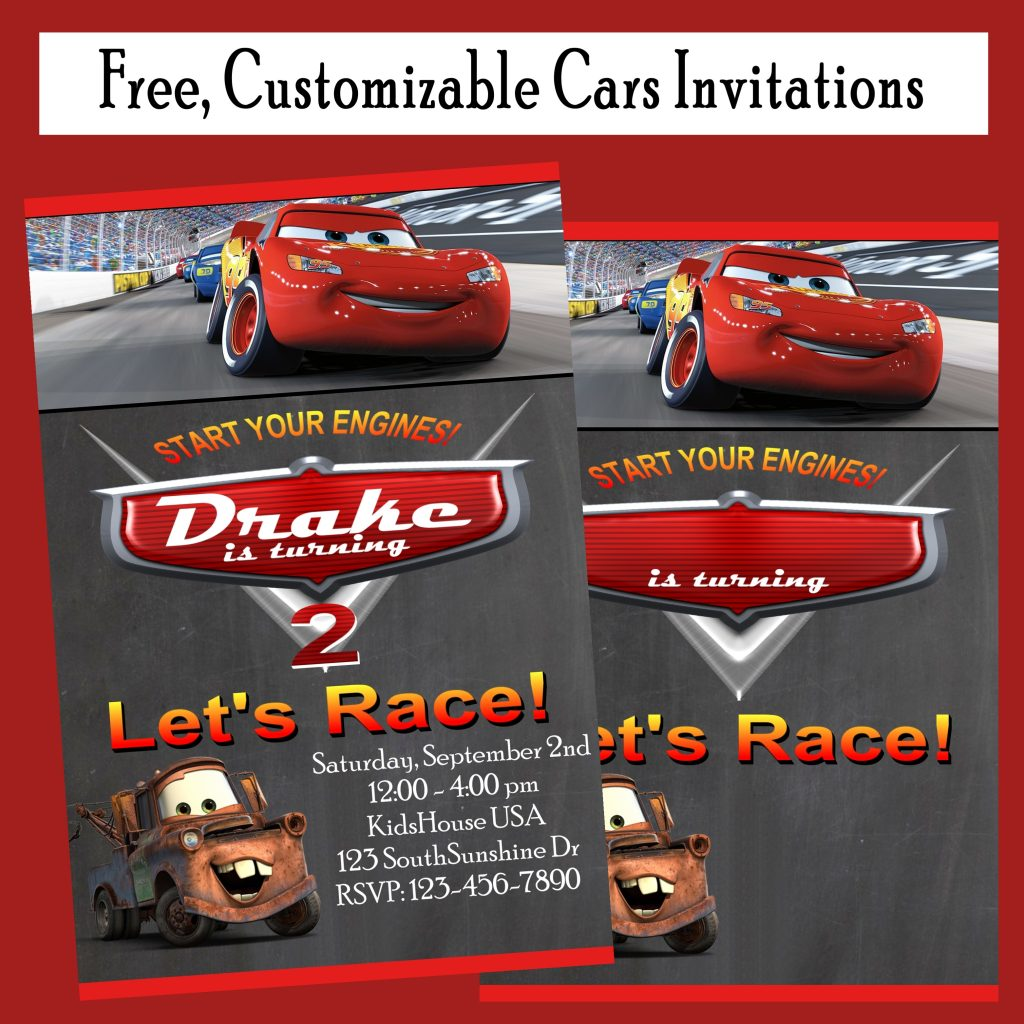 Free Cars Birthday Party Invitations Free Customization!