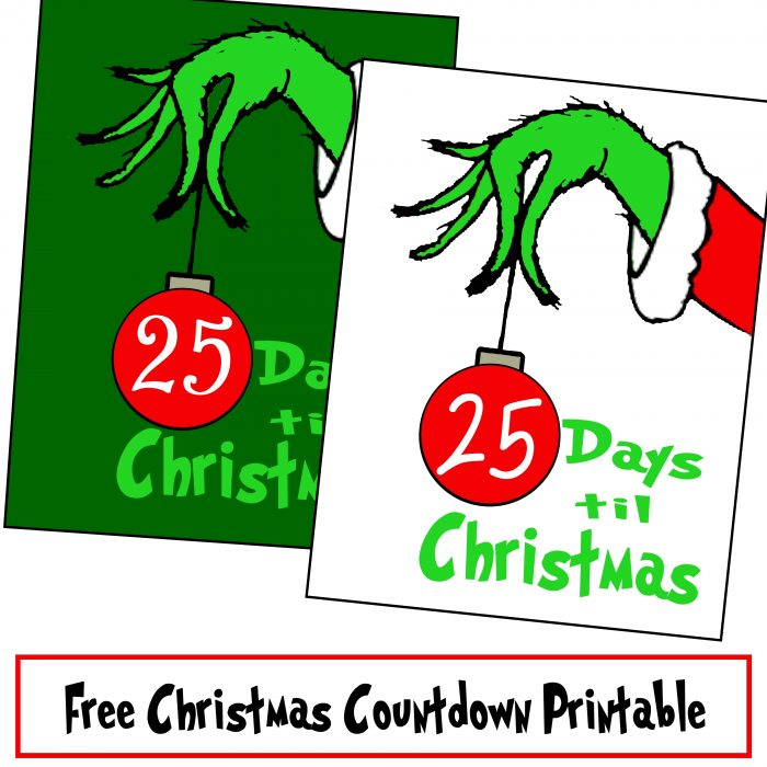Free Grinch Hand Christmas Countdown Printable
