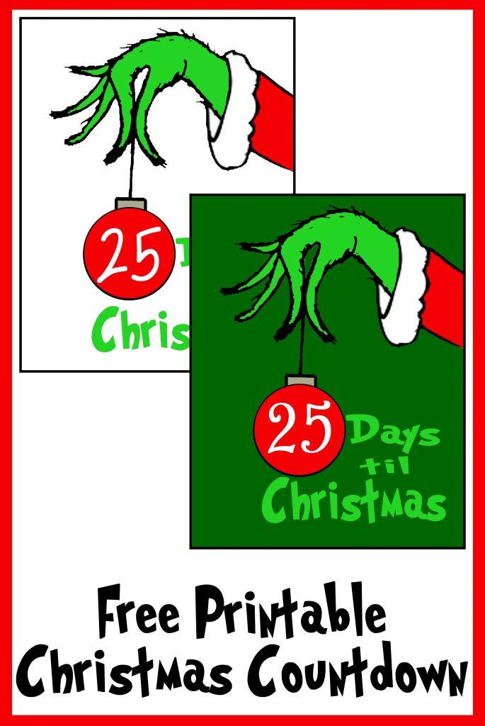 Free Grinch Hand Christmas Countdown Printable Printables 4 Mom