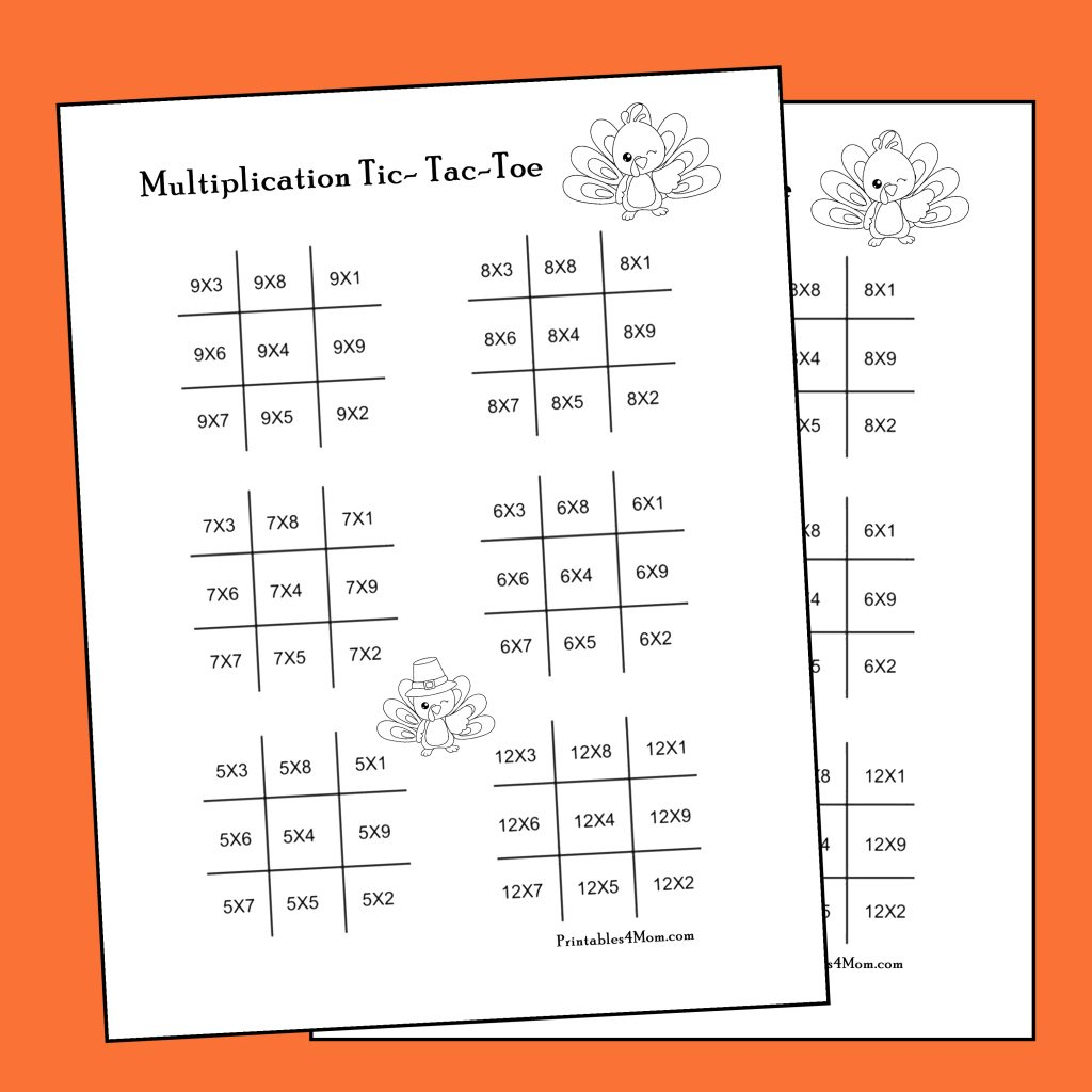 Multiplication Tic-Tac-Toe Game for Thanksgiving or Fall! Free Printable Worksheet.
