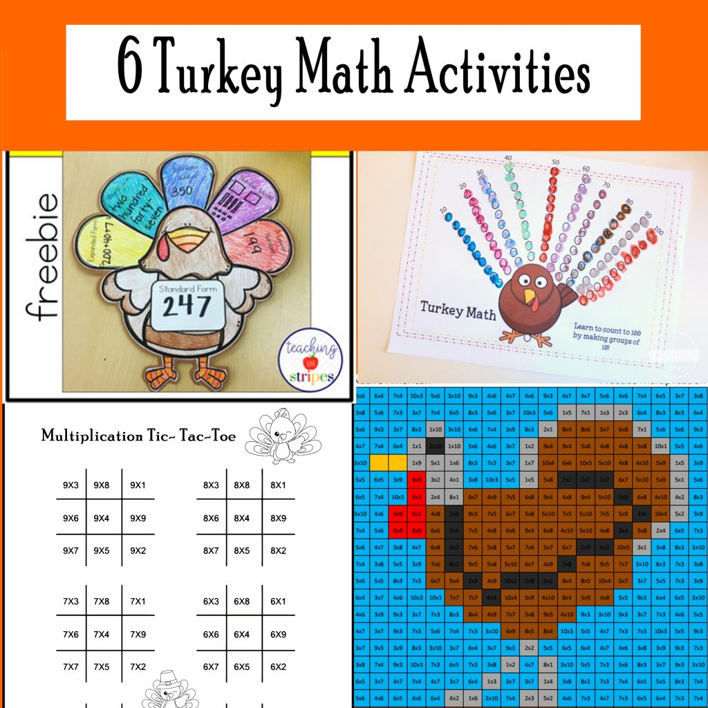 November Math Printables for Thanksgiving. 6 Activities for kids!