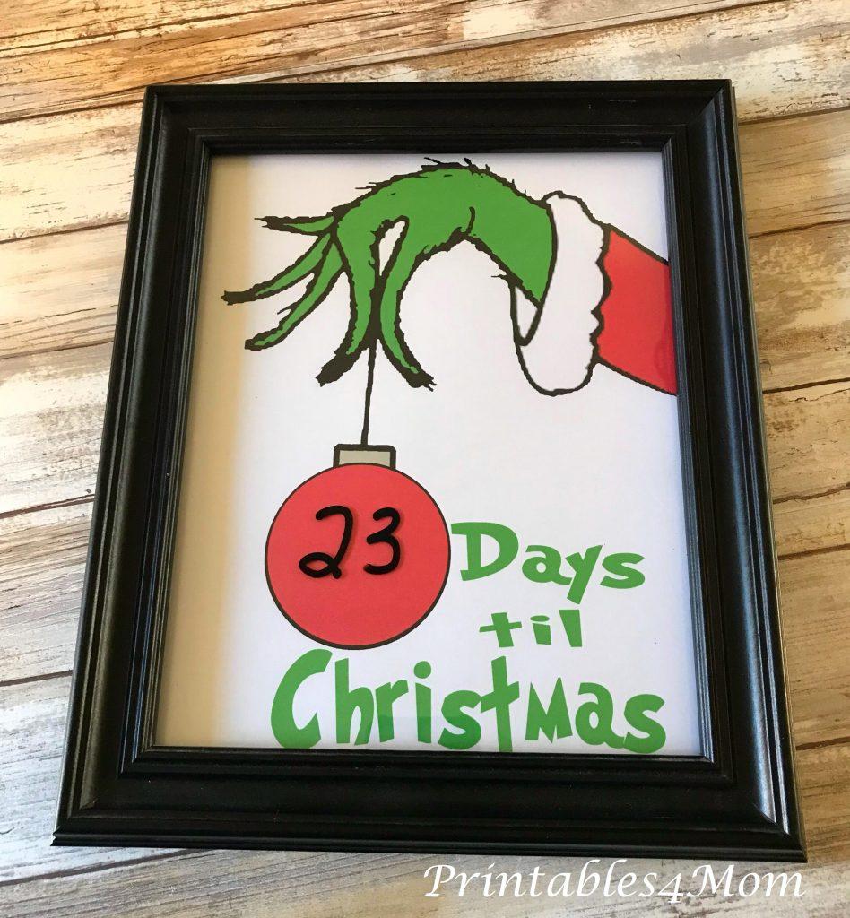 Free Grinch Hand Christmas Countdown Printable