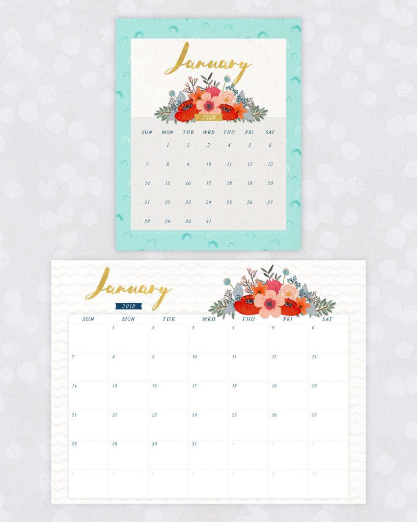2018 Floral Calendar Printables