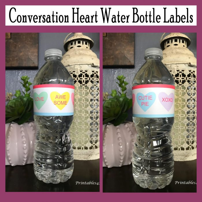 Printable Conversation Heart Water Bottle Labels
