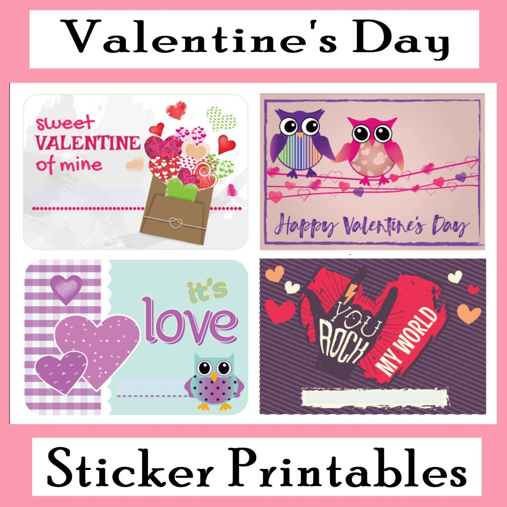 Printable Valentine's Day Stickers Free Printables for Decor, DIY gifts, making Valentine's Day cards, etc!
