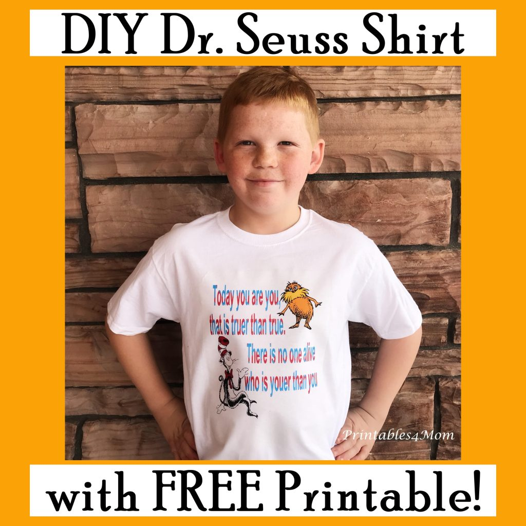 Dr. Seuss DIY Shirt and Art Printable