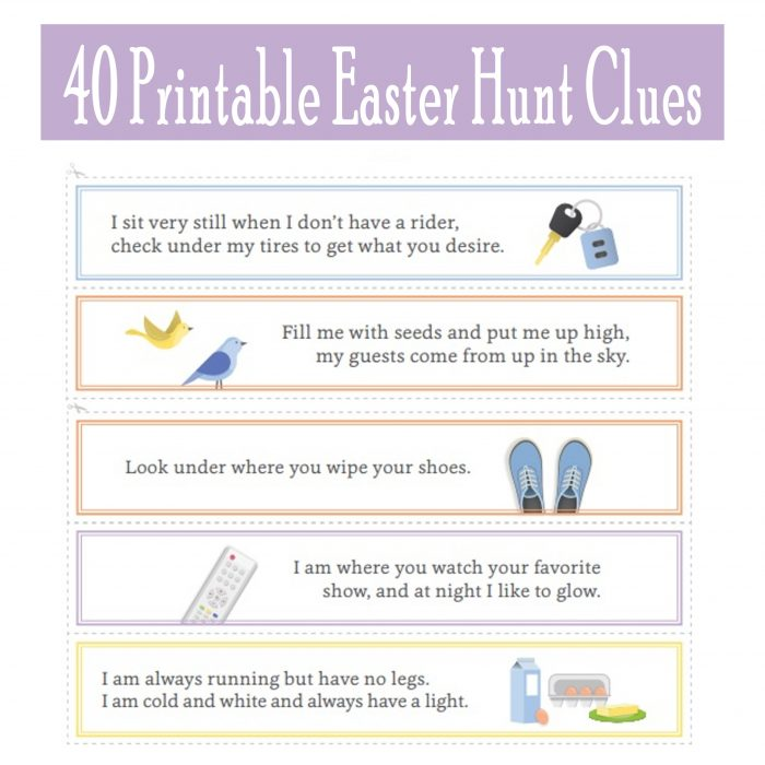 Free Printable Easter Egg Hunt Clues for Indoor and Outdoor Egg Hunts