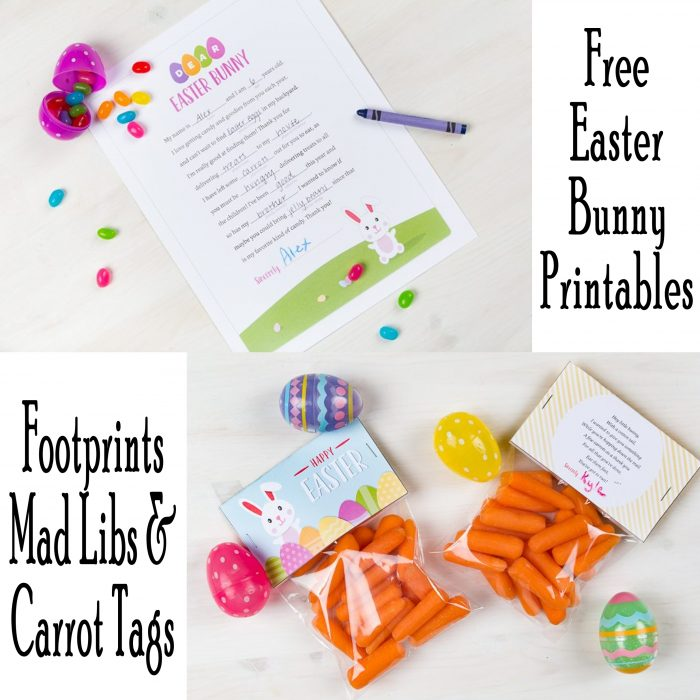 Free Easter Printables Mad Libs, Easter Bunny Letter and Footprints