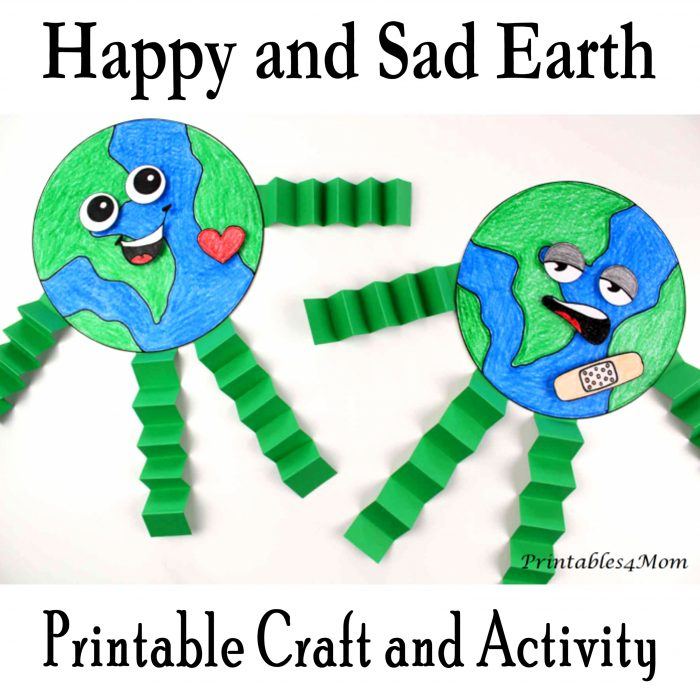 Happy and Sad Earth Craft Activity and Printable