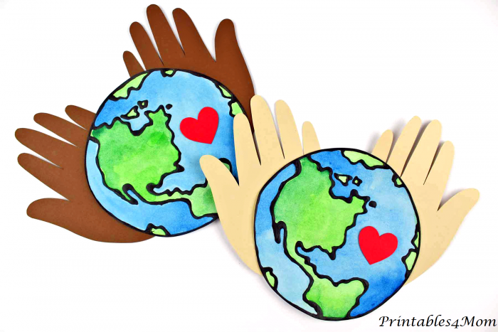 Earth Day Hand Craft made with black glue and Free Printables