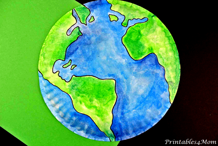 Paper Plate Earth Painting with Printable Template