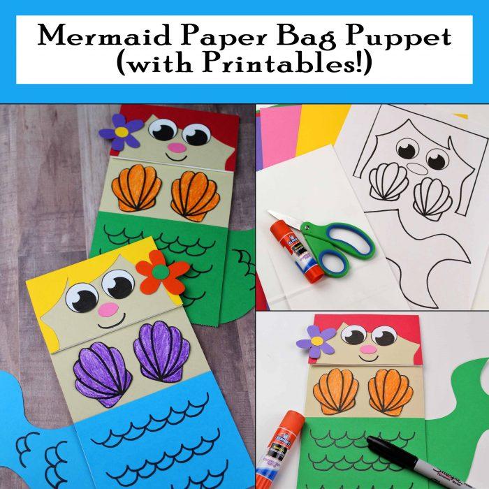 Mermaid Paper Bag Puppet Free Printable Craft