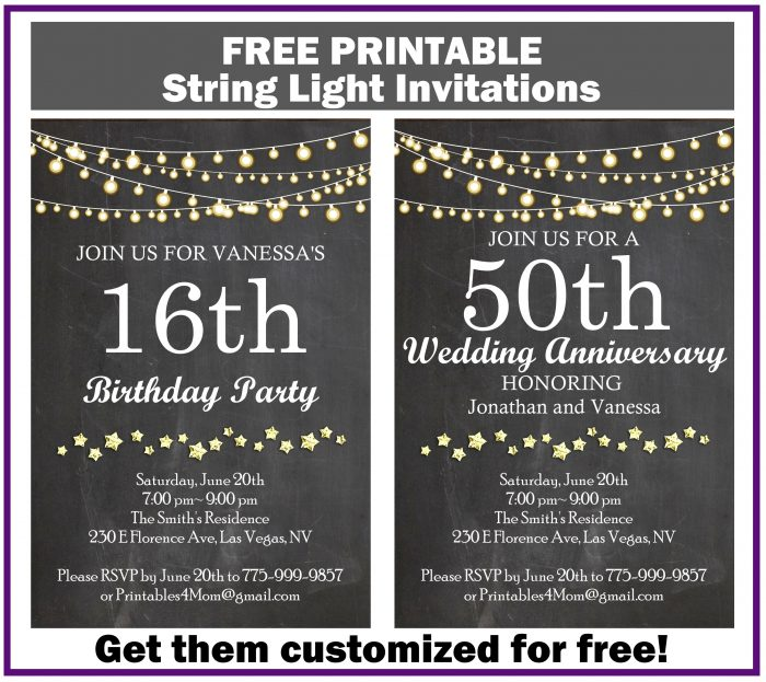 String Light Invitation for Birthdays, Baby Showers, Wedding Anniversary, etc. FREE
