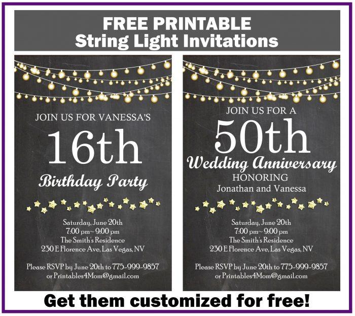 String Light Invitation for Birthdays, Baby Showers, Wedding Anniversary, etc. FREE