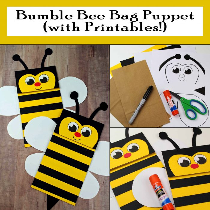 Bumble Bee Paper Bag Puppet with free printables