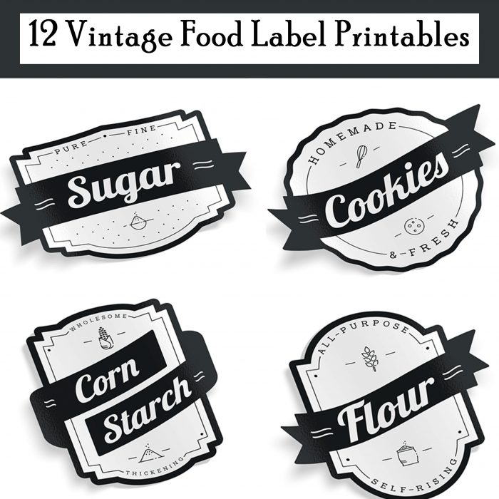12 Vintage Food Label Printables to declutter your pantry