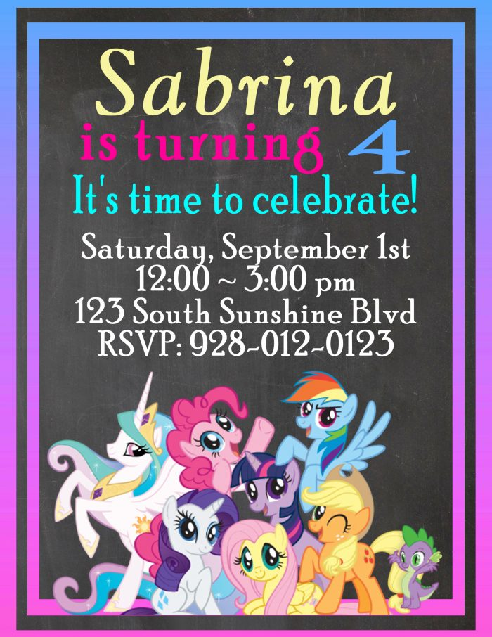 My Little Pony Customizable Birthday Invitations