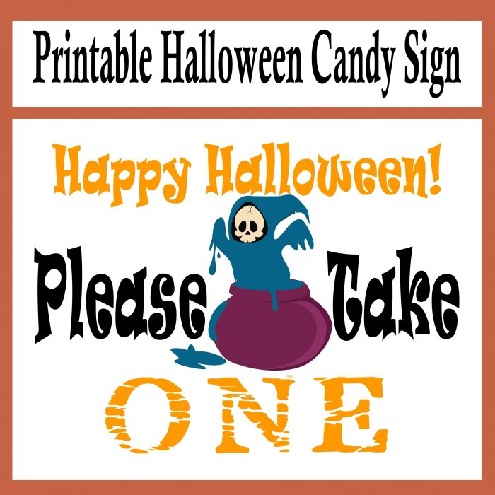 Free Printable Please Take One Halloween Candy Sign