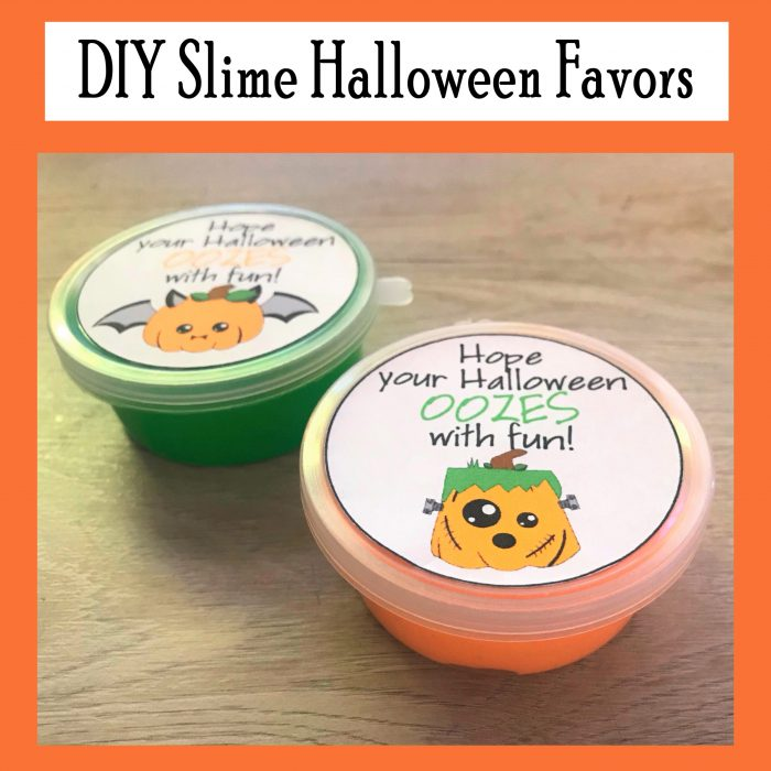 DIY Slime Halloween Favors for kids with free printables