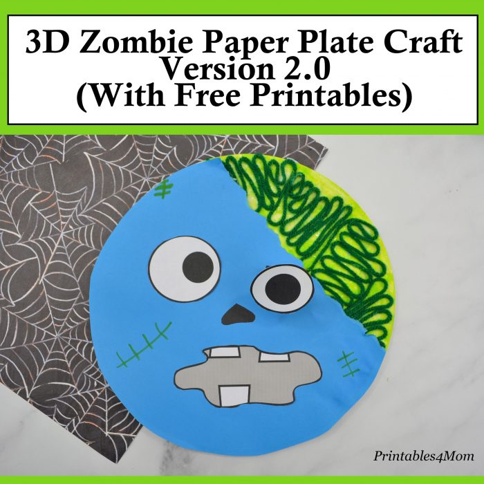 Paper Plate Zombie Craft Version 2.0 with Free Printable Template