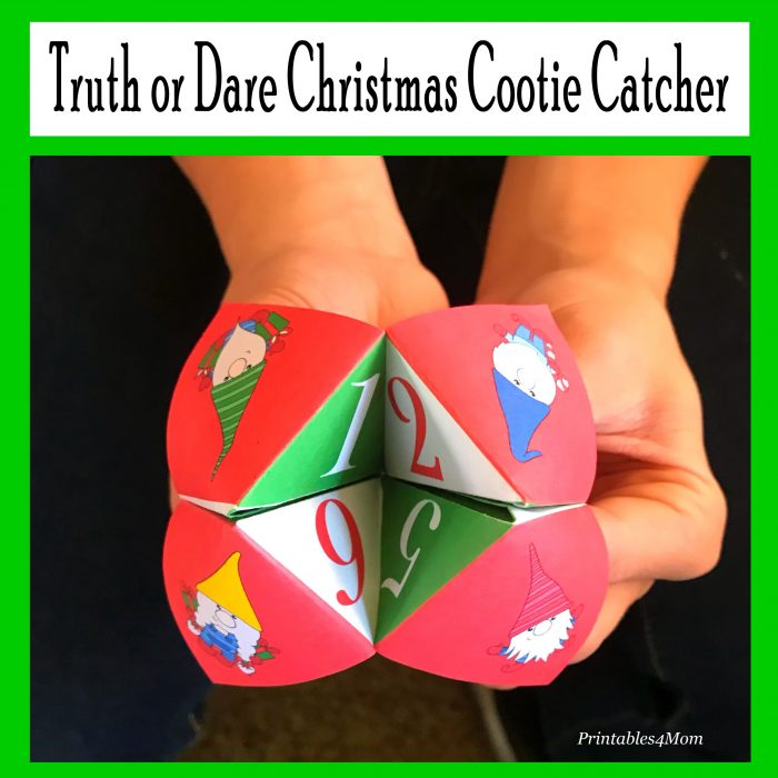 Truth or Dare Christmas Cootie Catcher Printable worksheet with cute elfs!