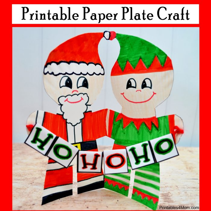 Santa and Elf Printable Paper Plate Craft