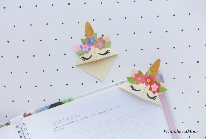 Printable Corner Unicorn Bookmark Free Printable Template