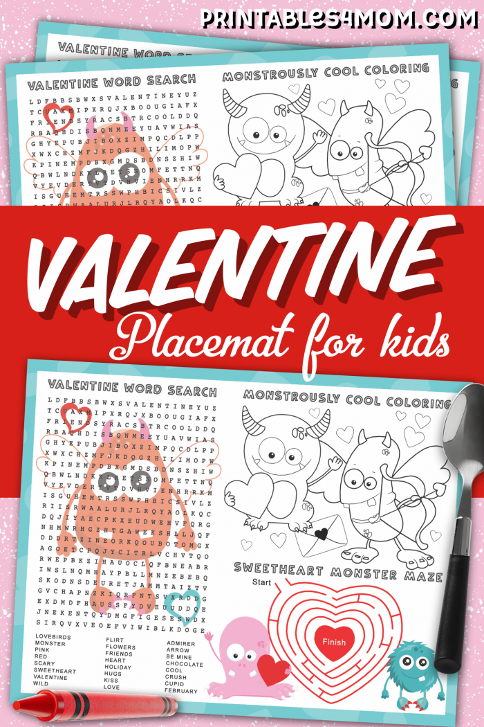 Monster Valentine Placemat Worksheet