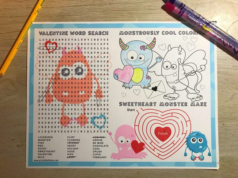 Monster Valentine Placemat Worksheet Free Printable