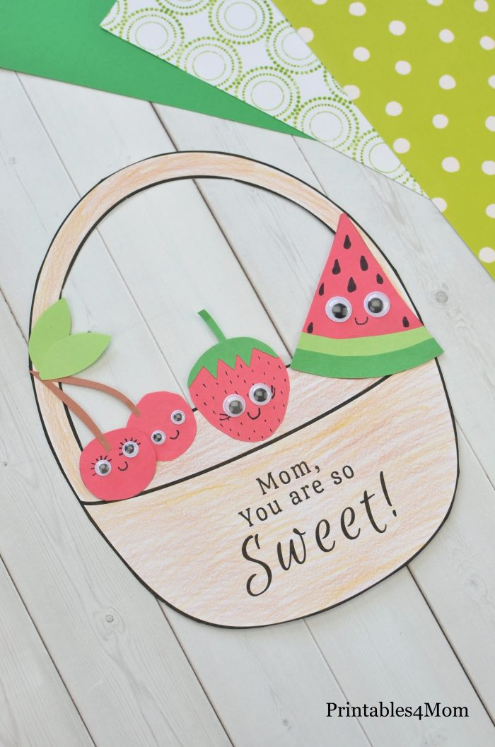 Mother's Day Sweet Fruit Basket Craft Free Printable