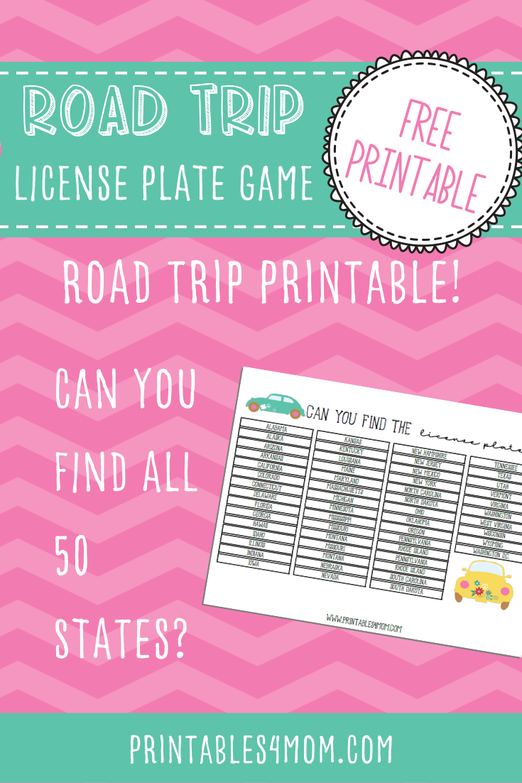 Road Trip License Plate Game Free Printable Worksheet for Kids