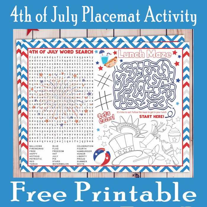 4th of July Activity Placemat