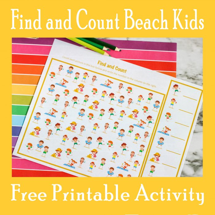 Find and Count Beach Kids Activity