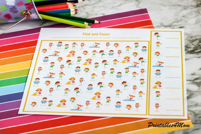 Find and Count Beach Kids Activity Free Printable