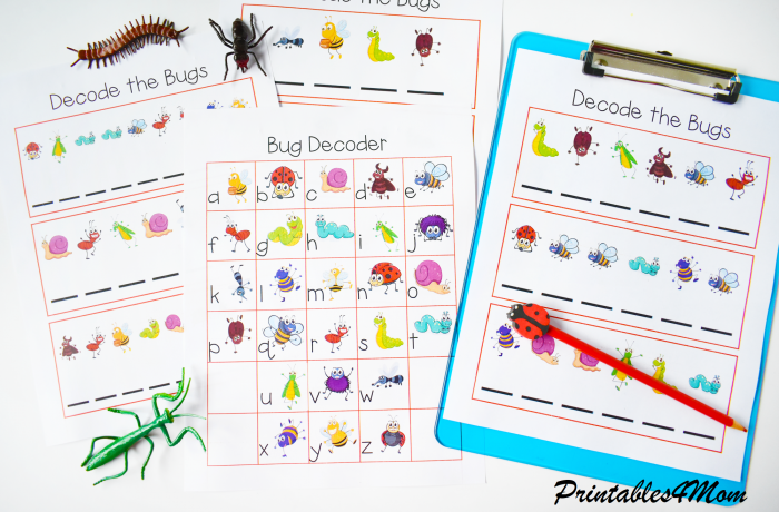 Free Printable Bug Secret Code Puzzle